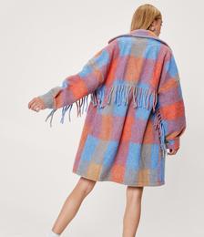 Wool Look Check Design Fringe Shirt Jacket