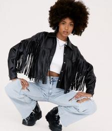 Western Faux Leather Fringe Jacket