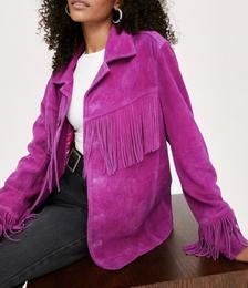 Real Suede Oversized Fringe Jacket