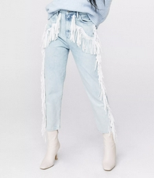 High Waisted Fringe Mom Jeans