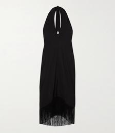 Fringed Crepe Halterneck Midi Dress