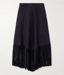 Camelia Fringed Wool-blend Midi Skirt