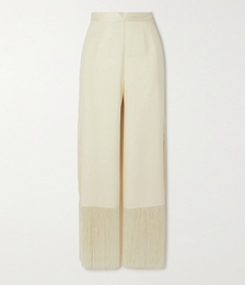 Mrs. Ross Cropped Fringed Crepe-cady Straight-leg Pants