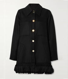 Fringed Tencel and Organic Cotton-blend Coat