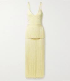 Icon Fringed Ribbed Stretch-knit and Bandage Midi Dress