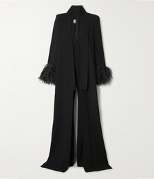 Draped Feather-trimmed Crepe Jumpsuit