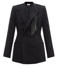 Crystal-fringed Slubbed-crepe Suit Jacket