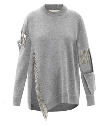 Crystal-fringed Cutout Wool Sweater