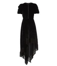 Fringed Scarf-hem Velvet Midi Dress