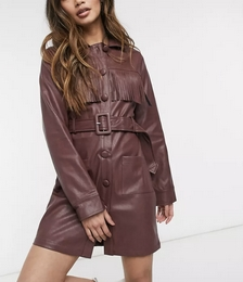 70s Faux Leather Belted Mini Shirt Dress with Fringing