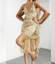 Floral Sequin Fringe Cami Midi Dress in Gold