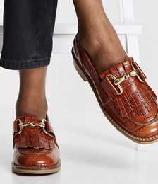 Mortice Leather Fringe Loafers in Tan Croc