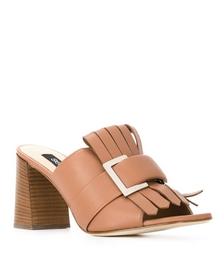 Fringed Buckle-embellished Sandals