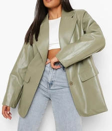 Plus Oversized Faux Leather Jacket