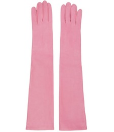 Pink Leather Long Gloves