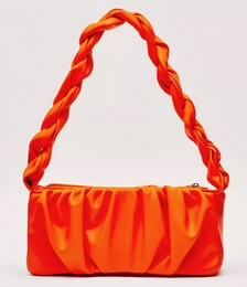 Faux Leather Ruched Braided Shoulder Bag