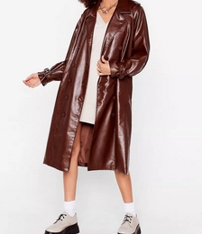 Faux Leather Belted Longline Trench Coat