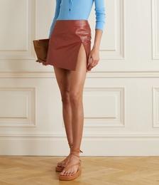 Asymmetric Leather Mini Skirt