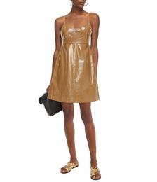 Tie-back Canvas-paneled Faux Patent-leather Mini Dress