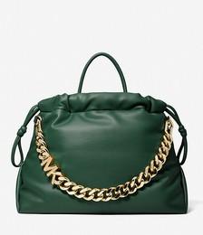 Lina Medium Logo Faux Leather Tote Bag
