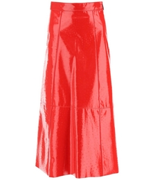 Ostrich-effect Faux Leather Midi Skirt