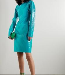 Asymmetric Patent-leather Mini Dress