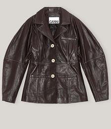 Leather Mutton Sleeve Blazer