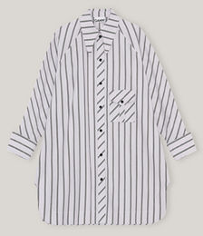 Striped Organic Cotton Oversized Midi Dress