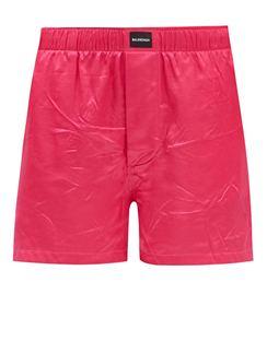 Logo-patch Crinkled Satin Shorts