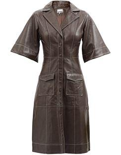 Notch-lapel Leather Shirt Dress