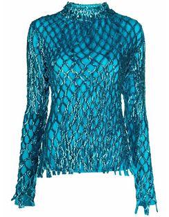 Long-sleeved Metallic Sequin Top