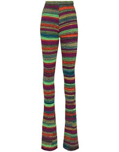 Knitted Striped Slim-fit Trousers