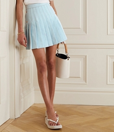 Button-embellished Pleated Cotton-blend Mini Skirt