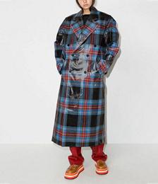Tartan-check Wool-blend Trench Coat