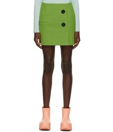 Green Georgette Check Double-Buttoned Miniskirt