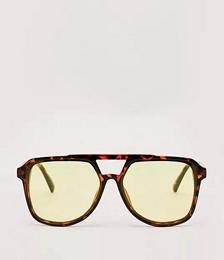 Recycled Tort Yellow Lense Aviator Sunglasses