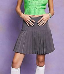 Mini Pleat Wrap Skirt in Grey