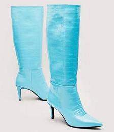 Faux Croc Knee High Stilletto Boot