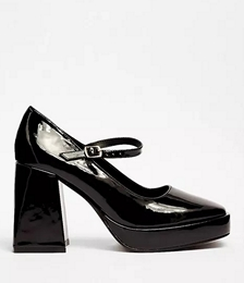 Patent Faux Leather Flare Heel Mary Jane Shoes