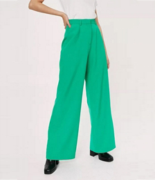Pleated Wide Leg High Waisted Tailored Pants
