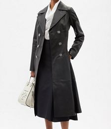 Double-breasted Anagram Leather Coat