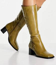 Chamomile Premium Leather Square Toe Knee Boots in Khaki