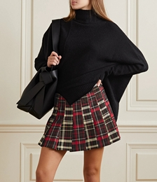 Carter Pleated Checked Twill Mini Skirt