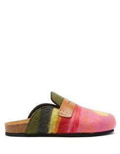 Landscape Felted-wool Backless Penny Loafers