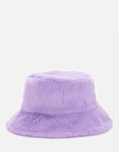 Women's Wera Faux Fur Bucket Hat - Topaz Purple